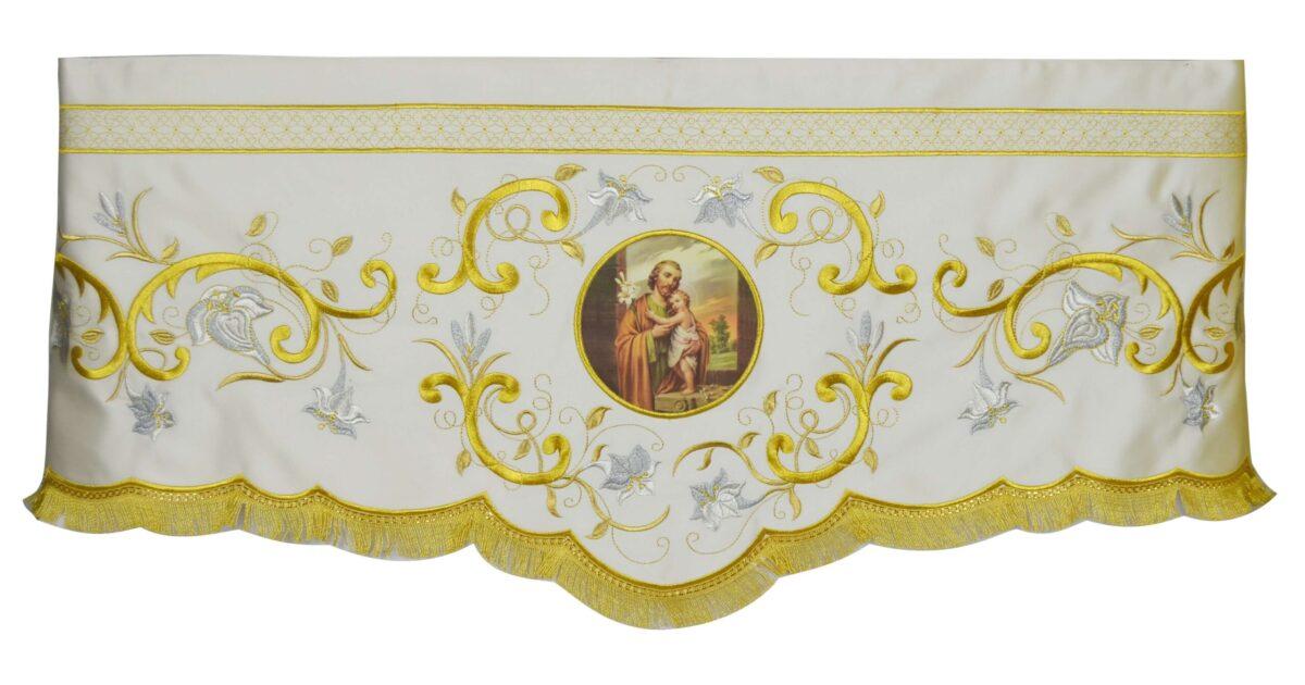 Mantovana per davanti altare Cod 8122 in prezioso tessuto di raso Ricamo immagine San Giuseppe e gigli oro DAV
