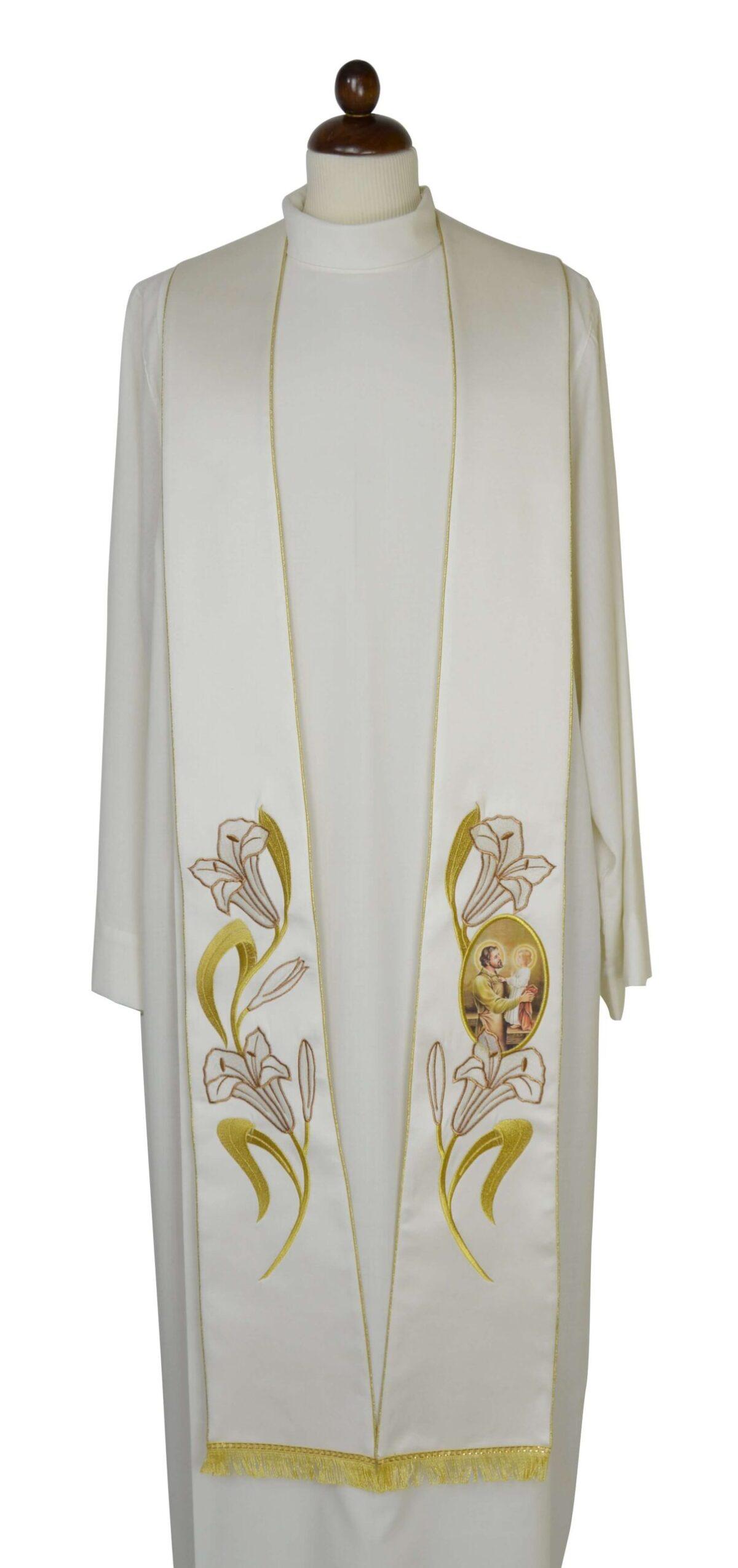 Stola Sacerdotale cod 8121 in raffinato tessuto di raso Ricamo Immagine San Giuseppe e gigli oro INT