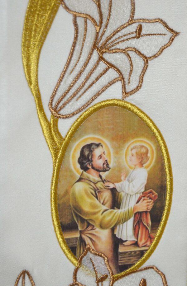 Stola Sacerdotale cod 8121 in raffinato tessuto di raso Ricamo Immagine San Giuseppe e gigli oro P3