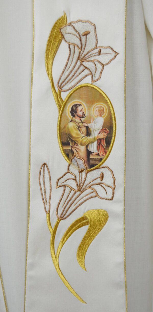 Stola Sacerdotale cod 8121 in raffinato tessuto di raso Ricamo Immagine San Giuseppe e gigli oro P4