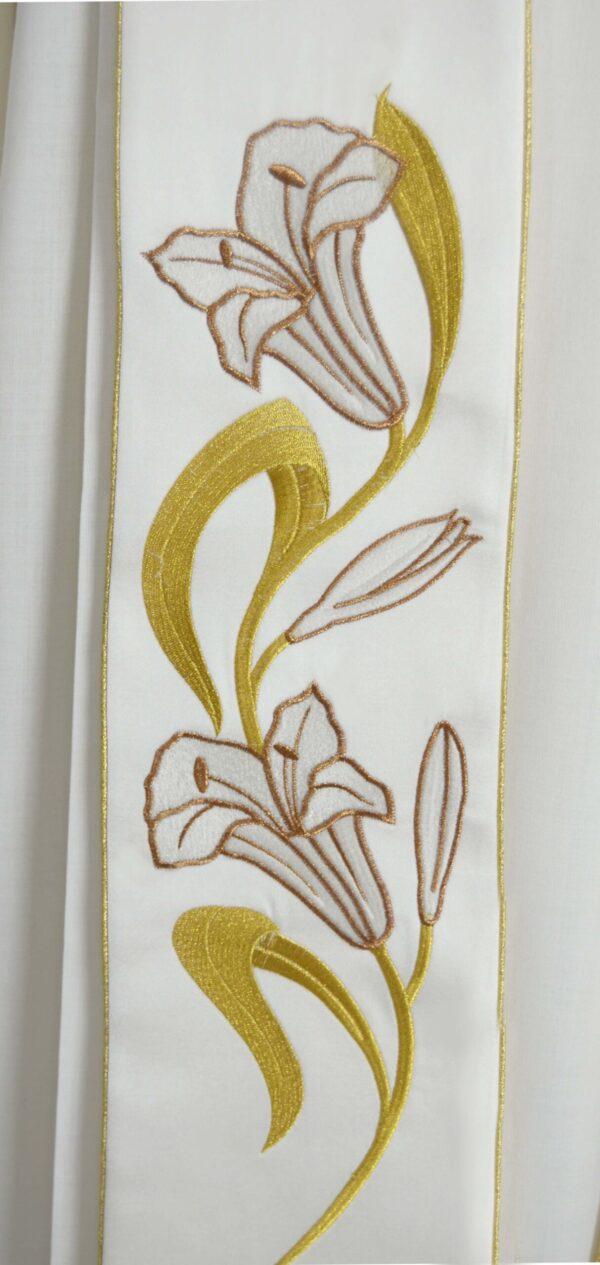 Stola Sacerdotale cod 8121 in raffinato tessuto di raso Ricamo Immagine San Giuseppe e gigli oro P6